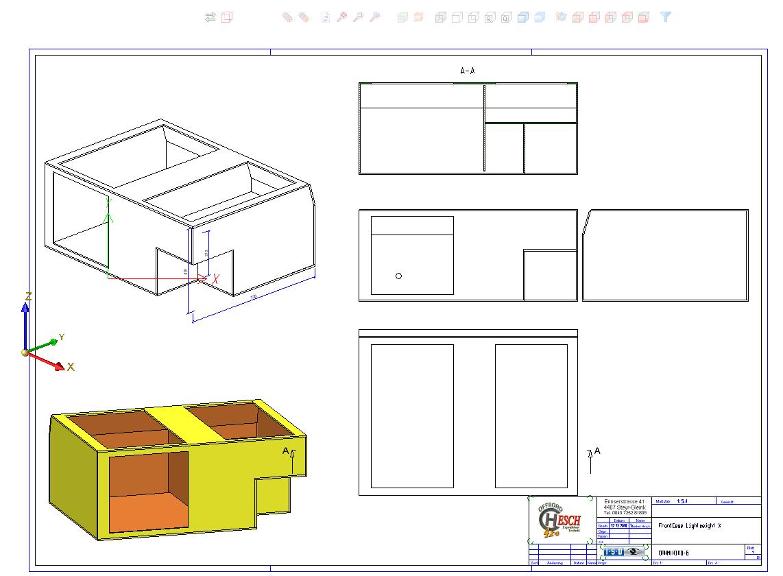 Zeichnung eines Prototypen vor Fertigung, unser FrontCase Lightweight